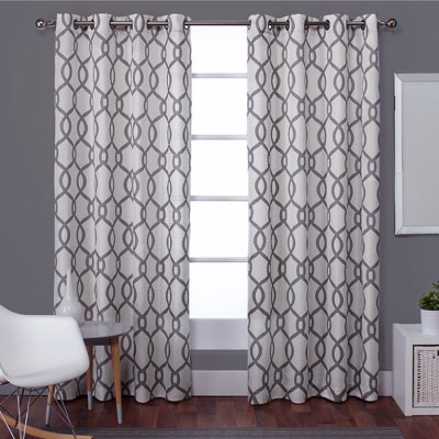 Kochi Linen Blend Grommet Top Window Curtain Panel Pair Black Pearl (54 x96 )- Exclusive Home™