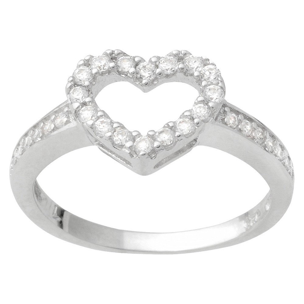 4/5 CT T.W. Round Cut Cubic Zirconia Pave Set Heart Ring in Sterling Silver (6), Women's