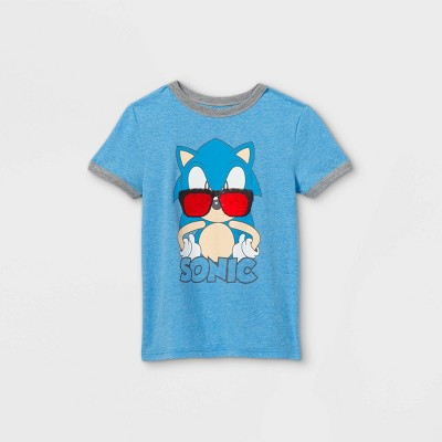Boys' Sonic the Hedgehog Flip Sequin Sunglasses Short Sleeve Graphic T-Shirt - Blue