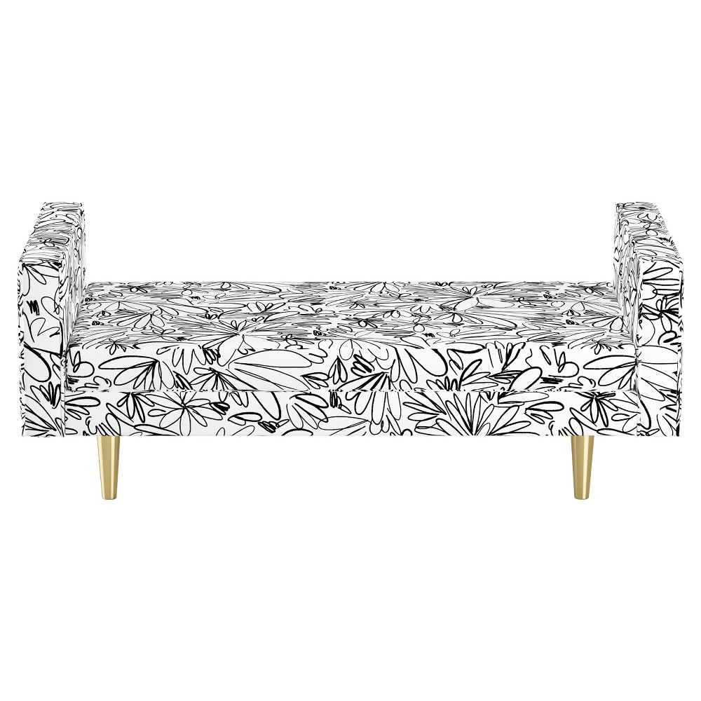 Queen Welted Daybed - Floral Black - Oh Joy