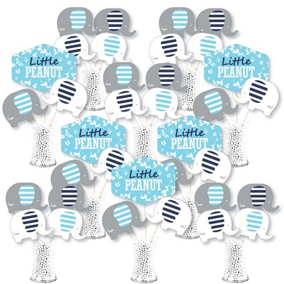 Big Dot of Happiness Blue Elephant - Boy Baby Shower or Birthday Party Centerpiece Sticks - Showstopper Table Toppers - 35 Pieces