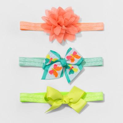 Toddler Girls' 3pk Bow Headwraps - Cat & Jack™ Orange/Mint/Yellow