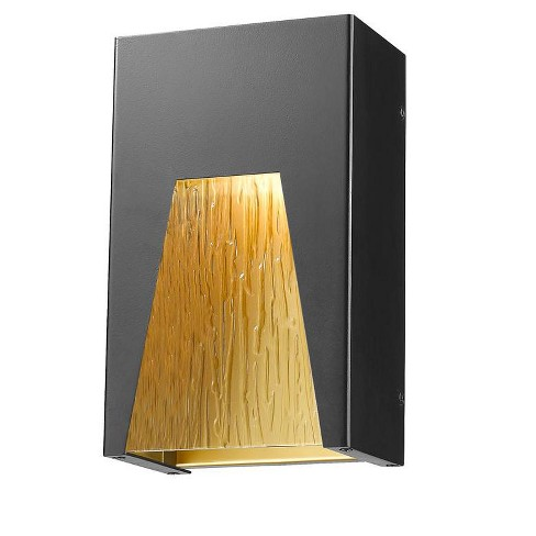 "Z-Lite 561S-BK-GD-CSL-LED Millenial Single Light 10"" High Integrated LED Outdoor Wall Sconce - image 1 of 1"