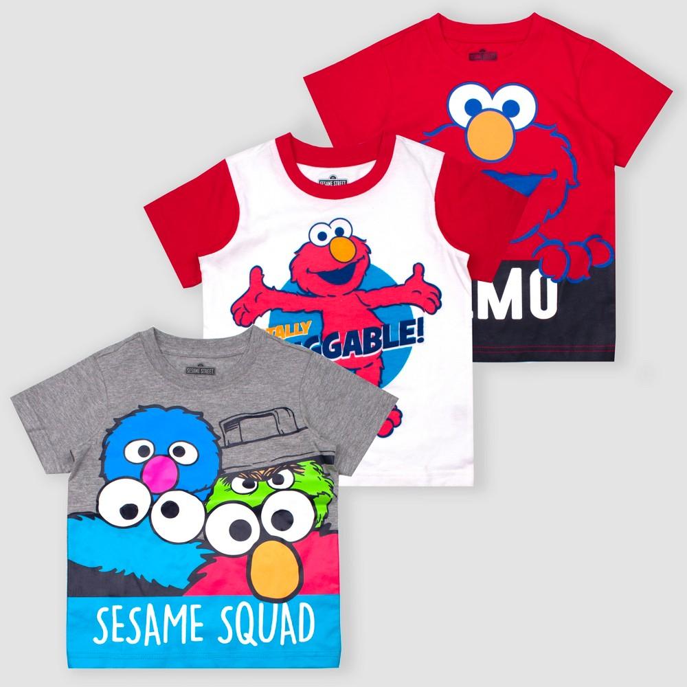 Image of petiteToddler Boys' Sesame Street Elmo 3pk Short Sleeve T-Shirts - Red/White/Gray 12M, Boy's, MultiColored