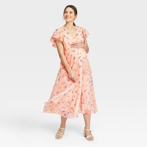 The Nines by HATCH™ Flutter Short Sleeve Chiffon Maternity Dress - image 1 of 3