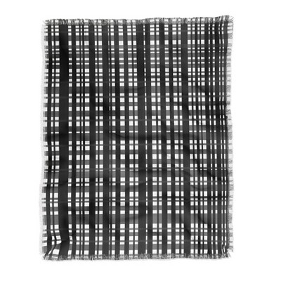 "50""x60"" Lisa Argyropoulos Holiday Plaid Modern Coordinate Throw Blanket Black/White - Deny Designs"