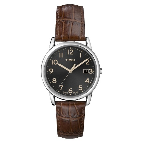 ecf0259fc1ef Men s Timex Watch With Leather Strap - Silver Brown T2N948JT   Target