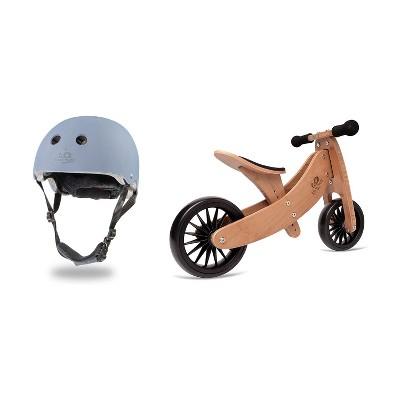 Kinderfeets Slate Blue Adjustable Toddler & Kids Bike Helmet Bundle with Kinderfeets Tiny Tot PLUS 2-in-1 Balance Bike Tricycle, Brown
