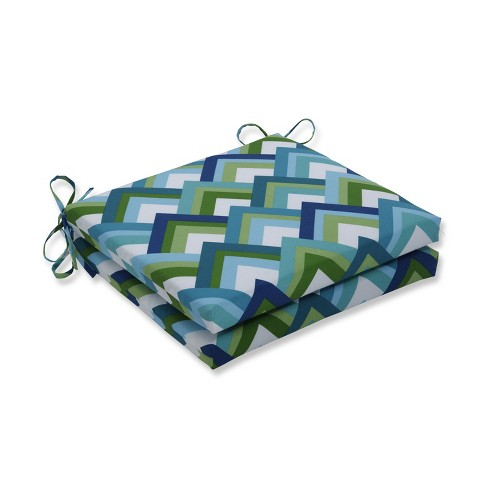 Resort Peacock 2pc Indoor/Outdoor Squared Corners Seat Cushion - Pillow Perfect - image 1 of 1