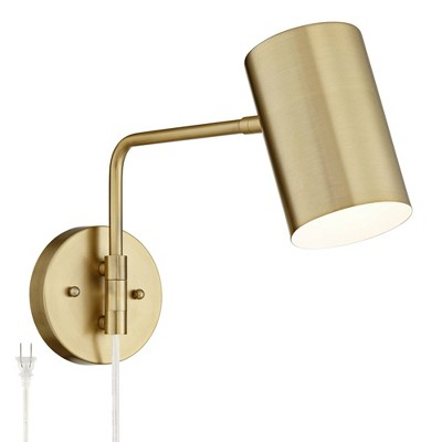 360 Lighting Modern Swing Arm Wall Lamp Brushed Brass Plug-In Light Fixture Cylinder Down Shade for Bedroom Living Room Reading
