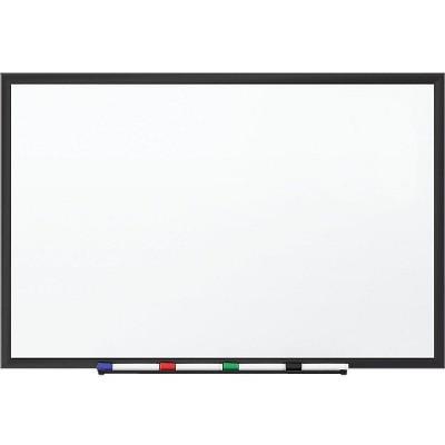 MyOfficeInnovations Standard Melamine Whiteboard Black Aluminum Frame 1.5'W x 2'H 1781981