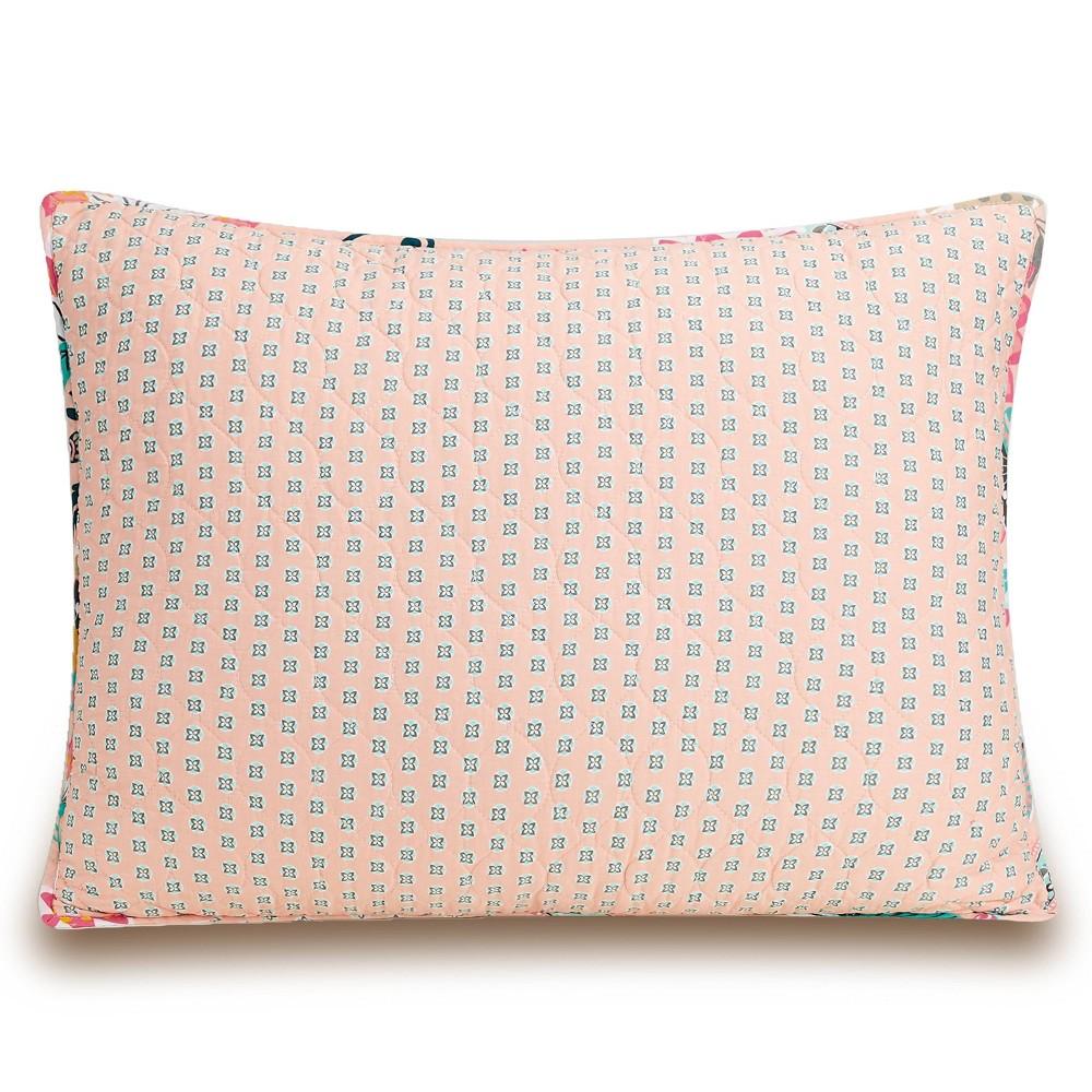 Image of Standard Blush Flowers Pillow Sham Pink - Vera Bradley