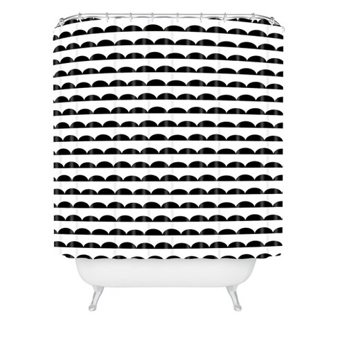 Little Arrow Design Co Mod Scallops Shower Curtain Black/White - Deny Designs - image 1 of 4