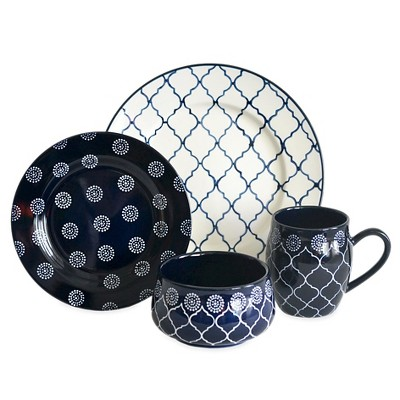 Baum Bros.® Morocco 16pc Dinnerware Set Navy