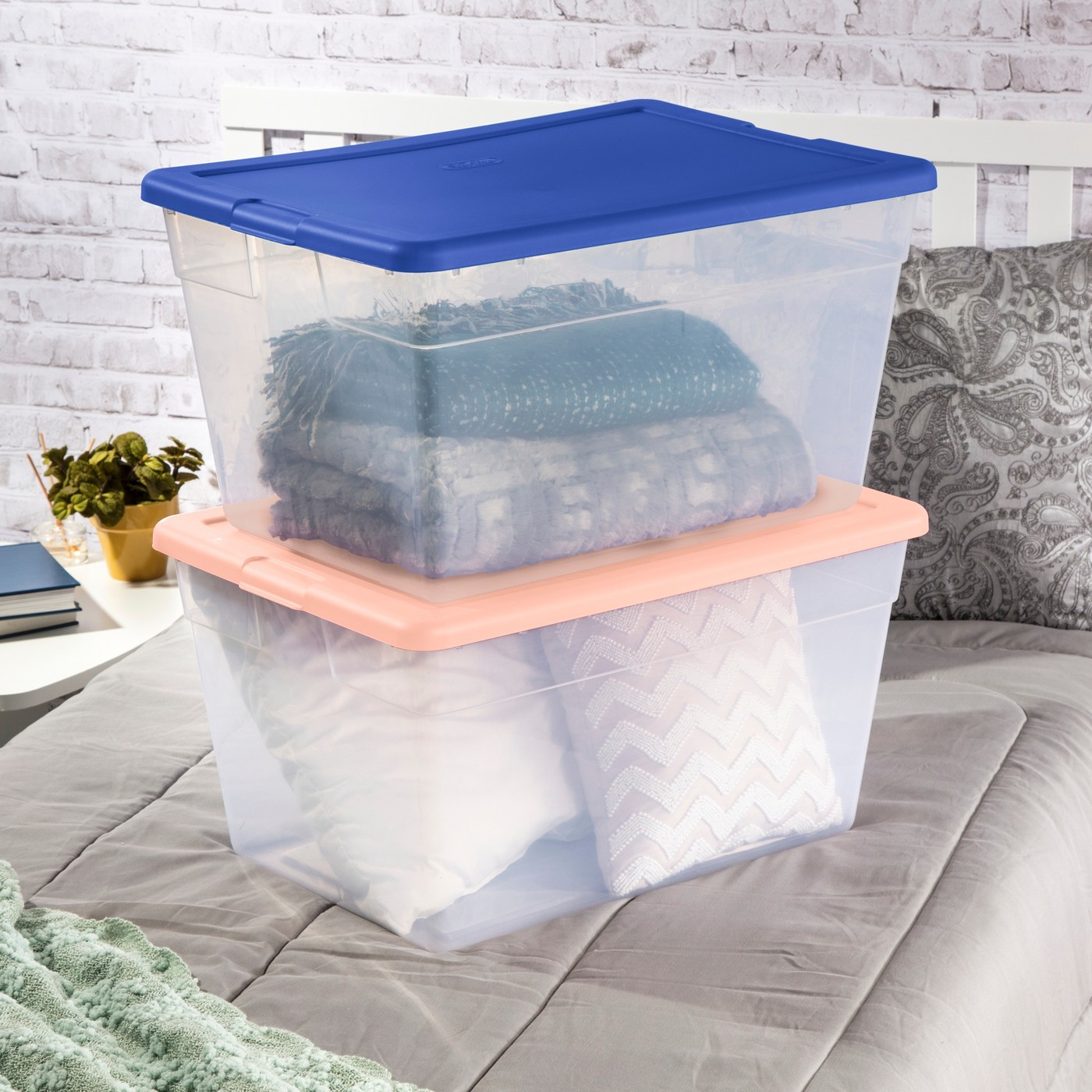 56qt Clear Storage Bin with Feather Peach Cement Assorted Lids - Room Essentials™ - image 5 of 5