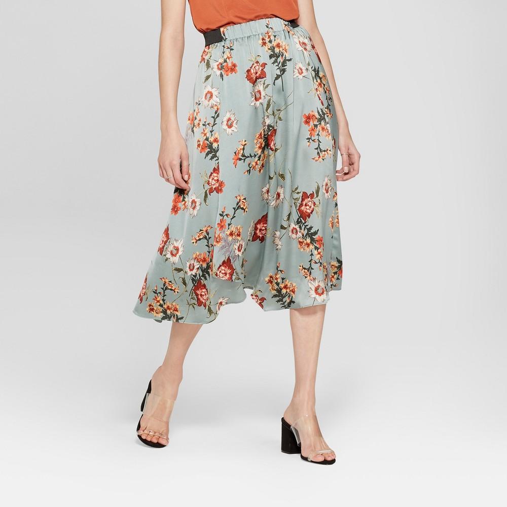 Women's Floral Print Wrap Midi Skirt - K by Kersh Blue M