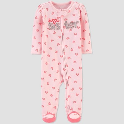 Baby Girls' Little Sister Hearts 1pc Pajama - Just One You® made by carter's Pink Newborn