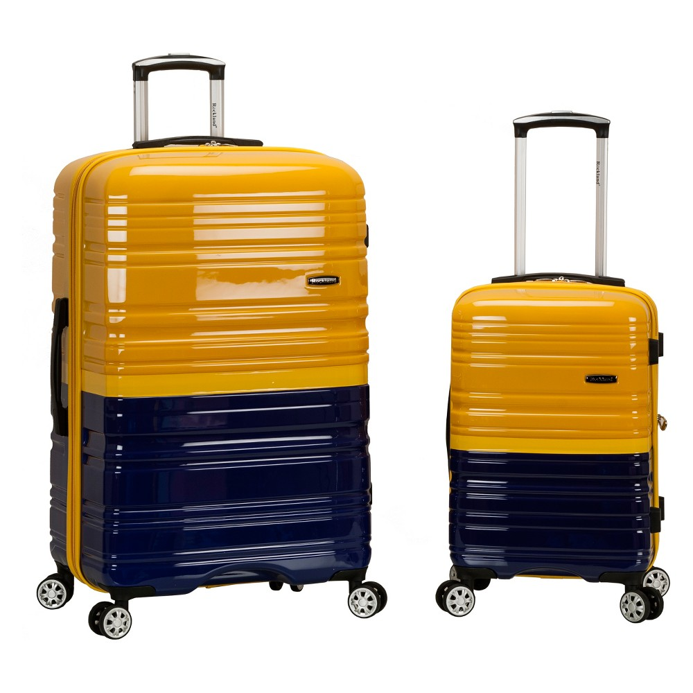 Rockland Melbourne 2pc Expandable Hardside Luggage Set - Navy (Blue)/Yellow