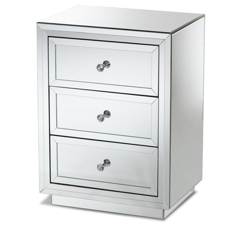 Lina Mirrored 3 Drawer Nightstand Bedside Table Silver - BaxtonStudio - image 1 of 7
