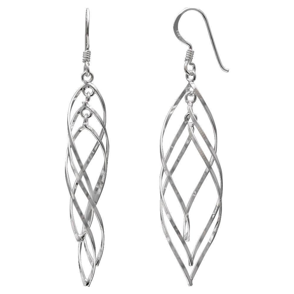 Women's Sterling Silver Twisted Oval Drop Earrings - Silver (41mm)