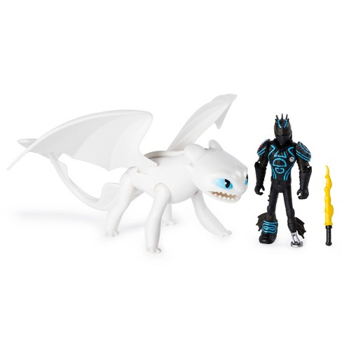 Dreamworks Dragons Lightfury And Hiccup Dragon With Armored Viking Figure Target
