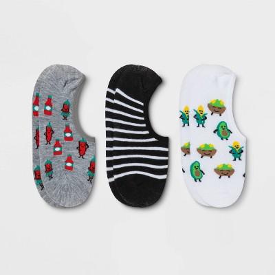 Women's Avocado & Chili 3pk Liner Socks - Xhilaration™ White/Black/Heather Gray 4-10