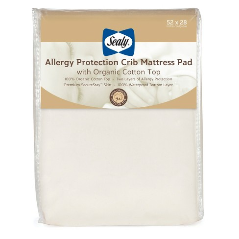 Sealy Allergy Protection Crib Mattress Pad Cover With Organic Cotton Top
