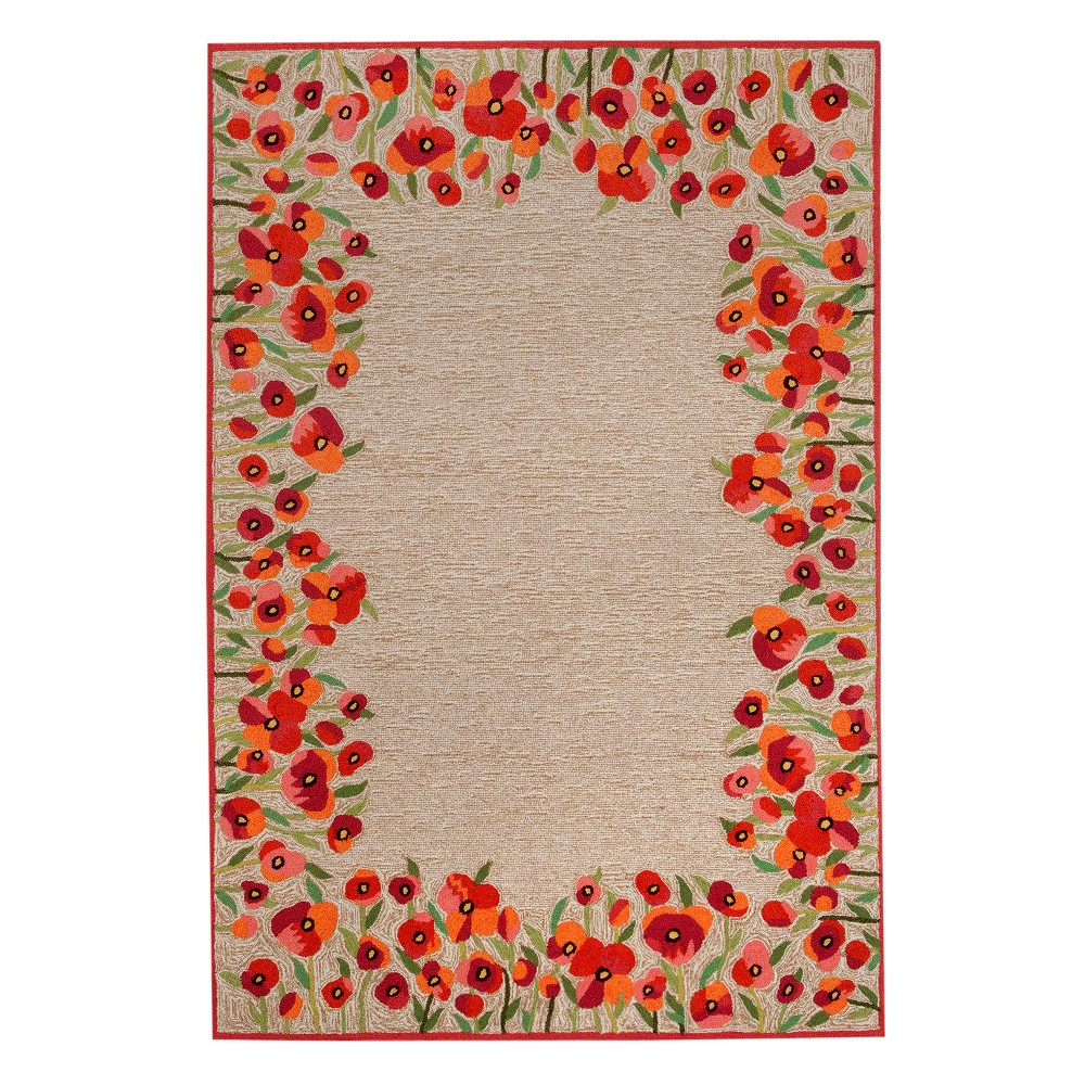 Red Floral Tufted Accent Rug 3'6