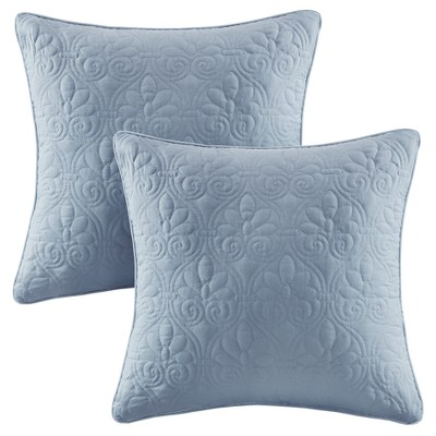 Blue Vancouver Microfiber Quilted Throw Pillow Pair (20 x20 )