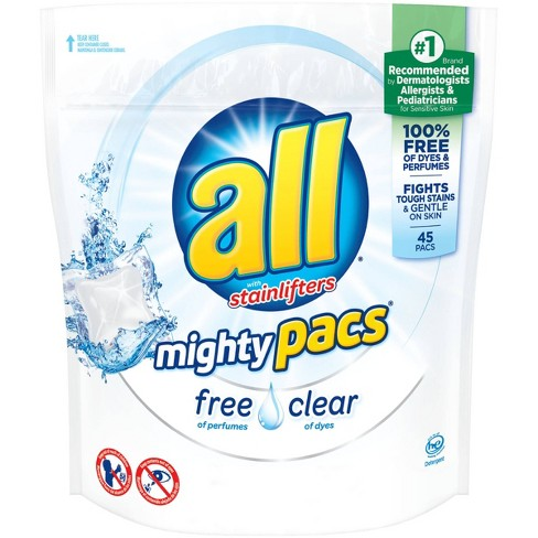 all® Mighty Pacs Free Clear Unit Dose Laundry Detergent 45ct- 45 loads - image 1 of 6