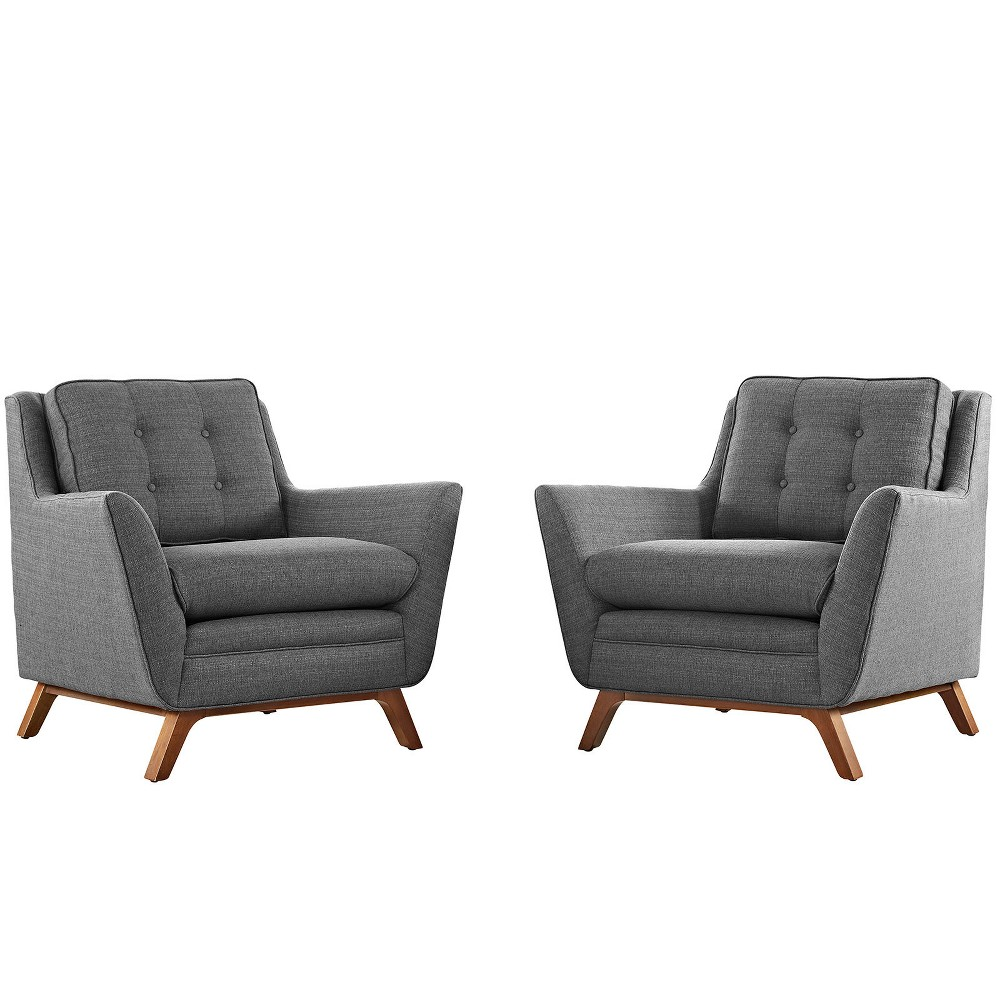 Image of 2pc Beguile Upholstered Fabric Living Room Set Gray - Modway