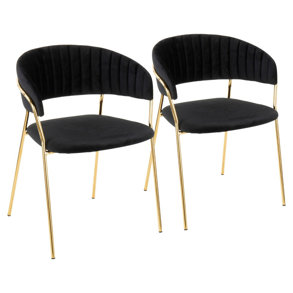 Set of 2 Tania Contemporary Glam Chairs Black/Gold - LumiSource