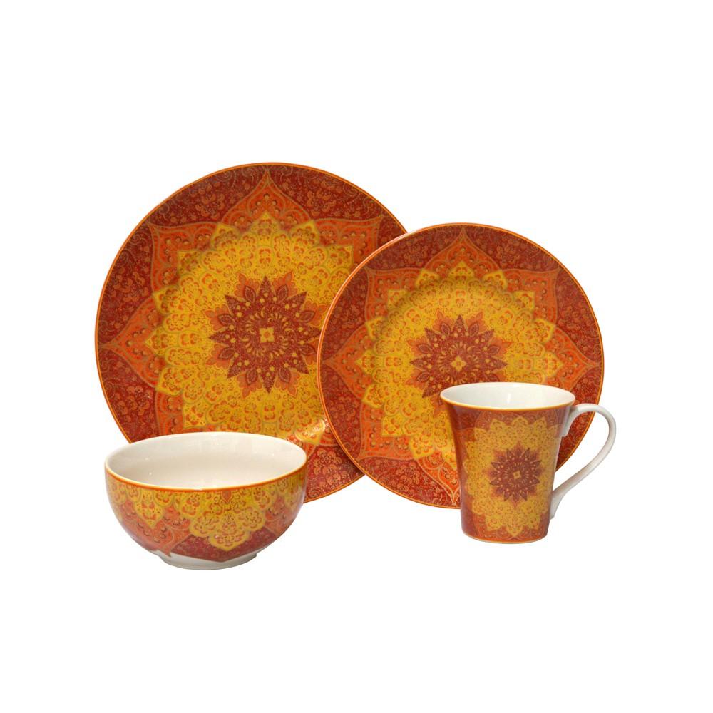 Image of 16pc Porcelain Kashan Dinnerware Set Orange - 222 Fifth, Multi-Colored