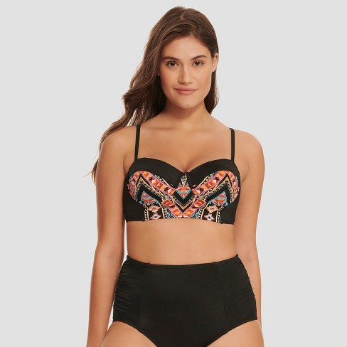 fb44730443fe9 Women s Slimming Control Longline Bikini Top - Beach Betty by Miracle  Brands Black Print