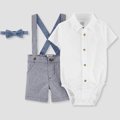 Baby Boys' Bowtie Suspender Shorts Set - Just One You® made by carter's Blue 3M