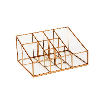 "10""X7.5""X4.75"" 9 Compartment Glass & Metal Vanity Organizer Copper Finish - Threshold™"
