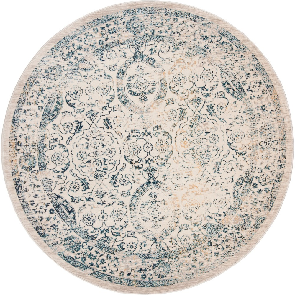 6'7 Floral Loomed Round Area Rug Beige/Turquoise - Safavieh