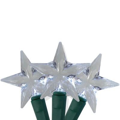 J. Hofert Co 25 Silver LED M5 Star Christmas Lights - 8 ft Green Wire