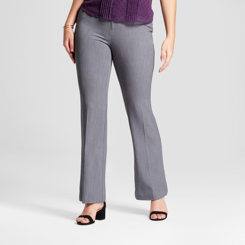 Women's Flare Curvy Bi-Stretch Twill Pants - A New Day Gray 14L, Size: 14 Long
