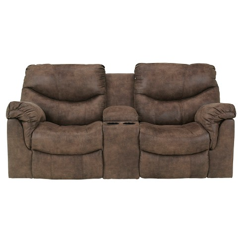 Alzena Double Rec Loveseat with Console Gunsmoke - Signature Design by Ashley - image 1 of 5