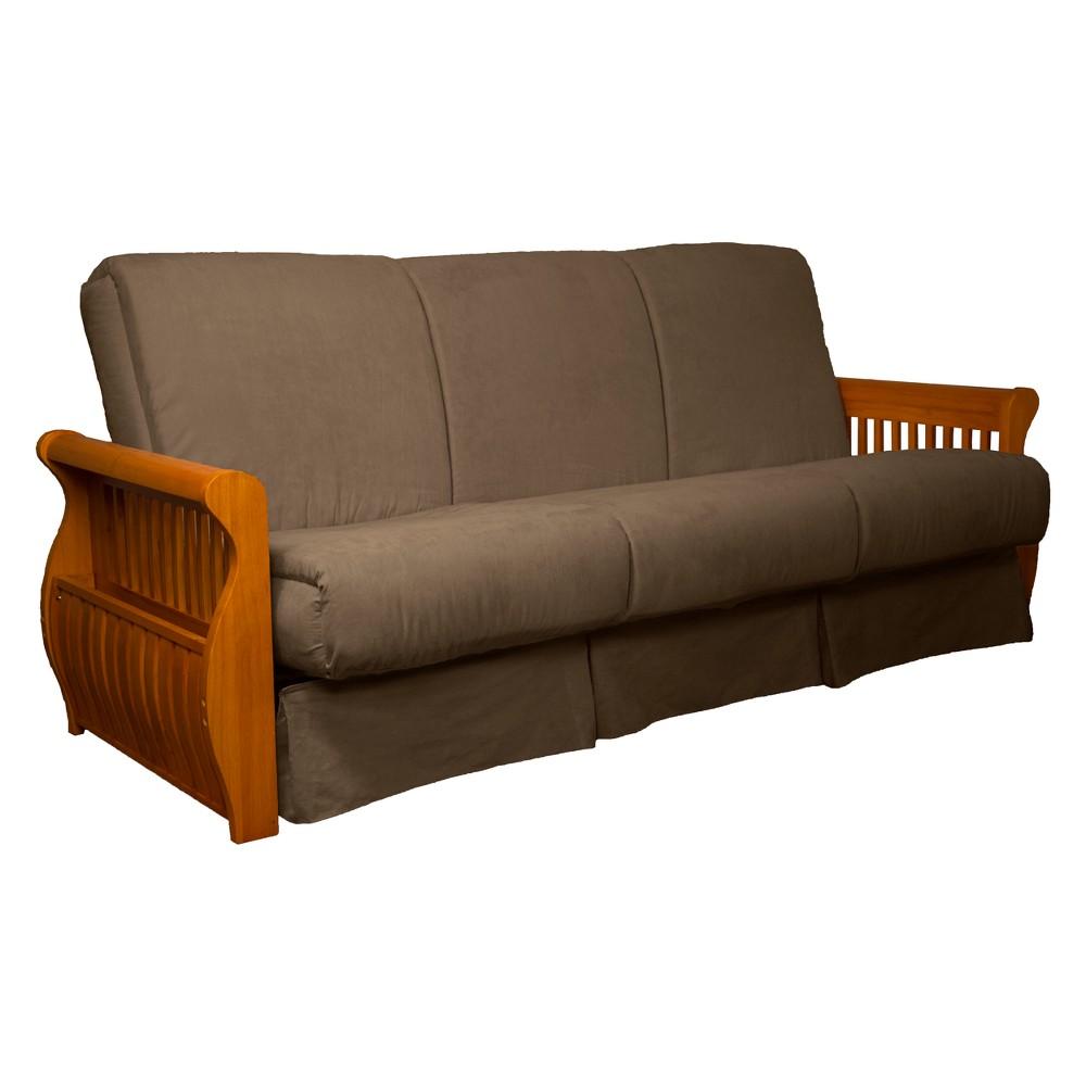 Storage Arm Perfect Futon Sofa Sleeper Medium Oak Wood Finish Mocha Brown - Epic Furnishings