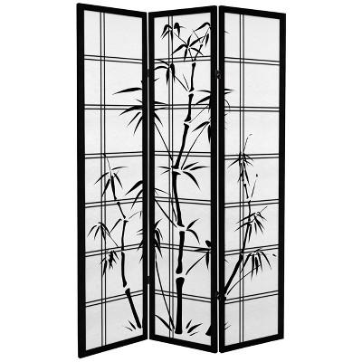 Oriental Furniture 6' Tall Canvas Bamboo Tree Room Divider 3 Panels Black