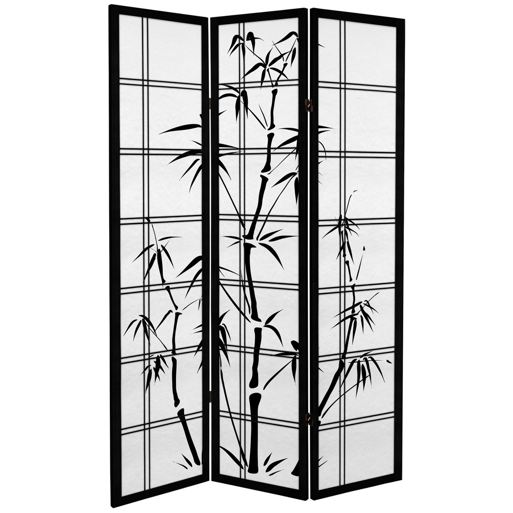 Image of Oriental Furniture 6' Tall Canvas Bamboo Tree Room Divider 3 Panels Black