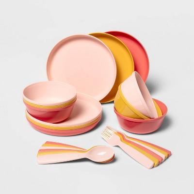24pc Plastic Kids' Dinnerware Set Pink/Yellow - Pillowfort™