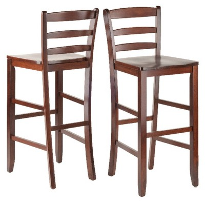 "Set of 2 30"" Ladder Back Barstool Hardwood/Walnut - Winsome"