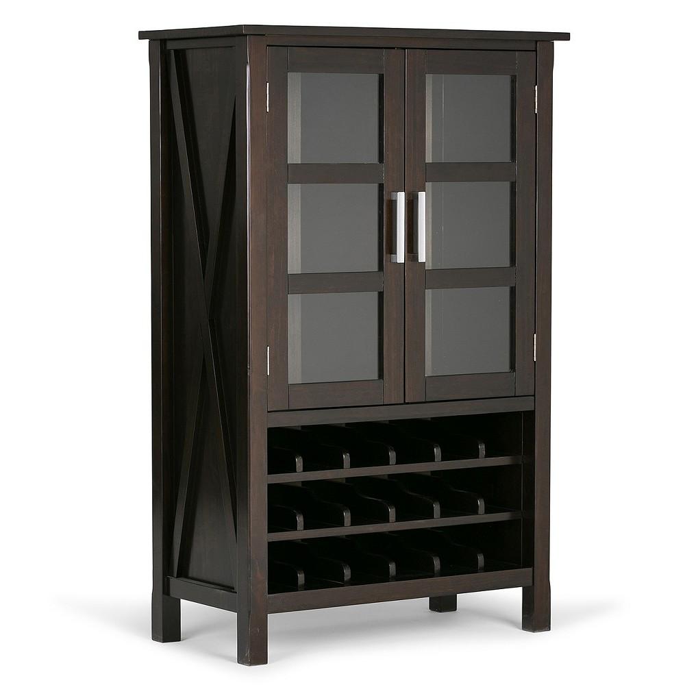 Kitchener High Storage Wine Rack - Dark Walnut Brown - Simpli Home