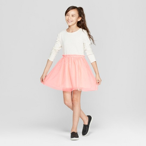 Girls' Long Sleeve Knit to Woven Dress with Tulle Skirt - Cat & Jack™ Pink/Cream - image 1 of 3