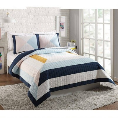 Ampersand for Makers Collective 3pc Diamond Patchwork Quilt & Sham Set Blue