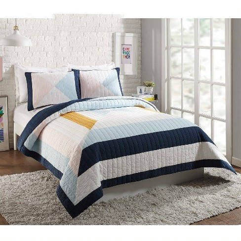 Ampersand for Makers Collective 3pc Diamond Patchwork Quilt & Sham Set Blue - image 1 of 4