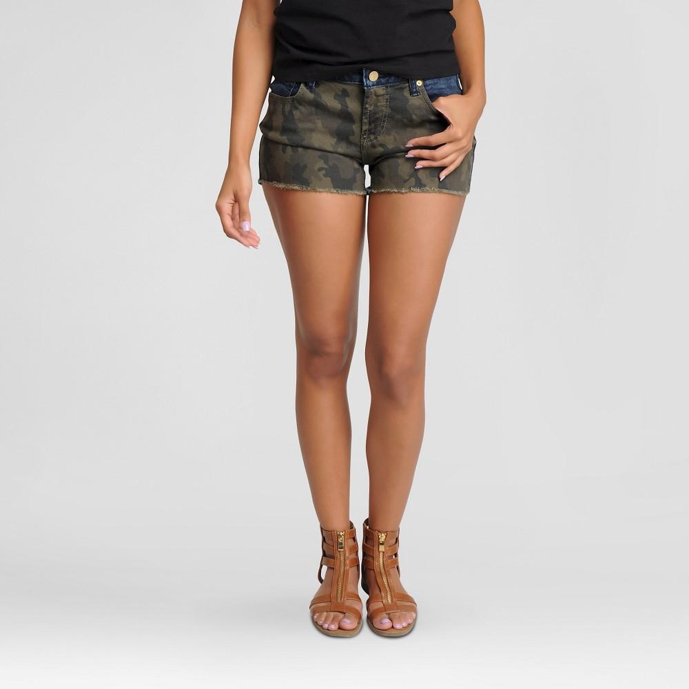 Women's Camo Front Cutoff Jean Shorts Camo Print Front, Dark Blue Back 13 - Poetic Justice, Multicolored